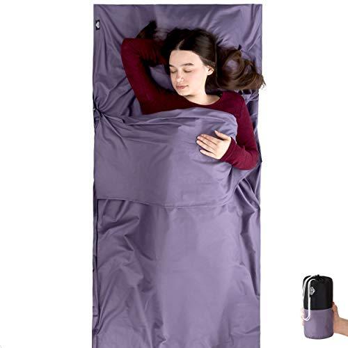 RedValley Reiseschlafsack aus 100% Baumwolle - Leichter Hüttenschlafsack 220x90cm mit Reißverschluss (Violett)