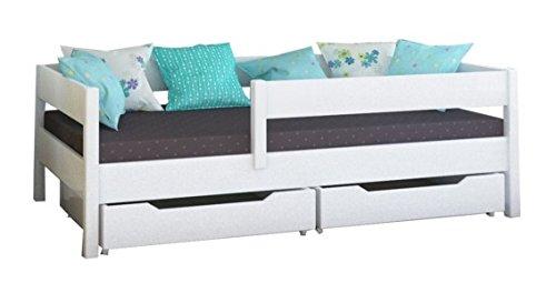 Toddler Miki Kinder Einzelbett mit Schubladen, 4Farben, viele verschiedenen Größen -, holz, weiß, 200x90