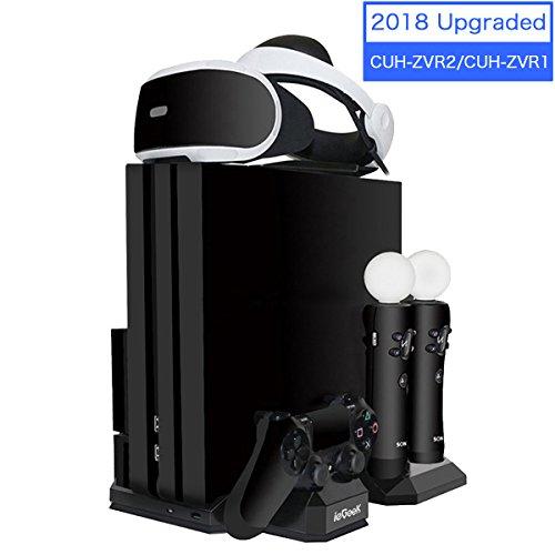 Verbesserte ieGeek PSVR Ladestation, PS4 Pro / PS4 Slim / PS4 [All-in-1] Vertikaler Standfuß Kühler Lüfter, Ladestation für 2 PS Move und 1 PS4 Controller, Halterung für PlayStation 4 VR Brille