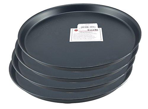 Pizzablech / Pizzaform / Pizza-Backblech, rund, unbeschichtet, für Steinofen geeignet, hitzefest bis 400°, Gastronomie geeignet, aus Blaublech geschmiedet von Turk, 4er Set (Durchmesser: 32cm)