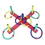 Ringwurfspiel Ringe Werfen Spielzeug für Draußen Werfen den Ring für Kinder und Erwachsene Ringwurfspiel Aktiver Outdoor und Indoor Spielspaß mit 6 Ringen