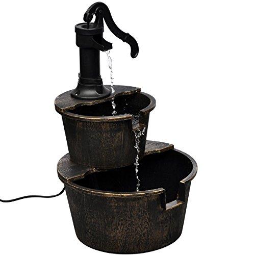 vidaXL Kaskadenbrunnen im Handwasserpumpe-Design Wasserspiel Brunnen + Pumpe