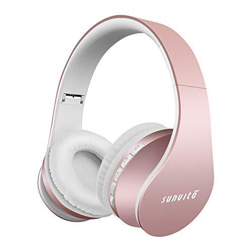 Bluetooth Funk Kopfhörer, Faltbarer Surround Studio Über Ohr Headphones Verdrahteter mit Freihändigem Anruf mit Allem 3.5 Millimeter Musik-Gerät und Handy Arbeitet (Roségold)