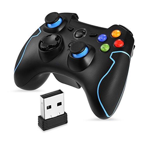 PC Controller, [Geschenk für Kinder], EasySMX Wireless Controller Gamepad PS3 Kompatibel mit Windows XP und Vista, Windows 8, PS3, Android und Reichweite bis zu 10M (Blau)