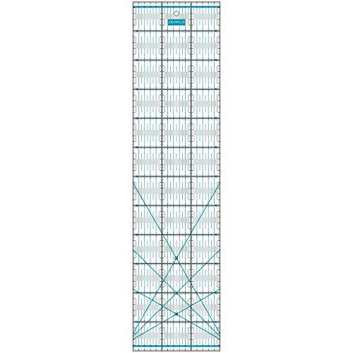 SEMPLIX Patchwork-Lineal Quilt-Lineal, transparent, mit cm Skala und Winkelfunktionen, ideal für Patchwork und zum Basteln, 60 x 15 cm (türkis)