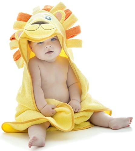 Little Tinkers World Baby-Badetuch / Kapuzenhandtuch im Löwe -Design – 100% Flauschige Baumwolle – Perfekt als Geschenk für Neugeborene, Säuglinge, Kleinkinder, Mädchen & Jungen, 75x75 cm
