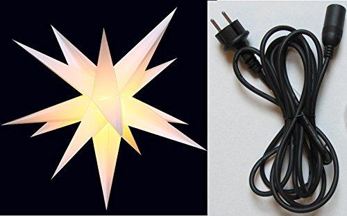 XXL 1m Außenstern weiß 100cm Stern wetterfest für außen inkl. Kabel & Fassung Adventsstern Weihnachtsstern Weihnachten