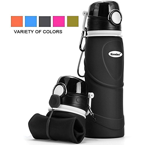 Kemier kollabierbare Silikon-Wasserflaschen-750ML, Medizinische Qualität, BPA-Frei, FDA-Zugelassen, Aufrollen, 26oz, auslaufsicher, Faltbar Sport & Outdoor-Wasserflaschen (Schwarz)