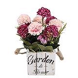 Flikool Hortensie Künstliche Blumen mit Holztopf Gefälschte Künstliche Pflanzen mit Topf Topfpflanzen Bonsai Hydrangea Kunstblumen Kunstpflanzen - Rose Blumen mit Square Weiß Pot