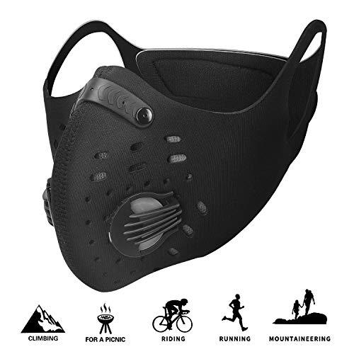 Staubmaske Atemschutzmaske Mundmaske Fahrradmaske Aktivkohle Filtration Auspuff Gas Anti Pollen Allergie Mit Ventil Pm 2.5 für Motorrad Radsport Training Running Radfahren Outdoor-aktivitäten