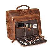 Donbolso Laptoptasche San Francisco 15,6 Zoll Leder I Umhängetasche für Laptop I Aktentasche für Notebook I Tasche für Damen und Herren (Braun)