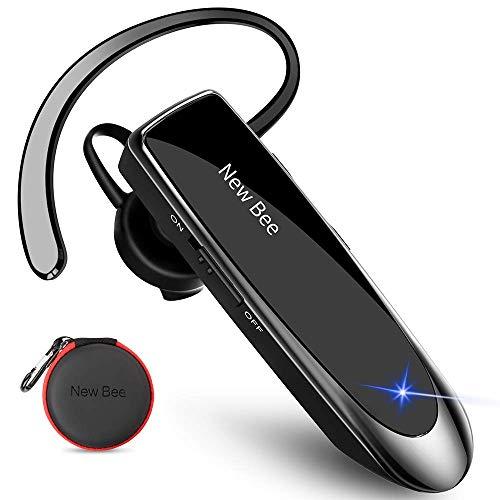 New Bee Bluetooth Headset Wireless Freisprech Telefon Bluetooth-Headset mit Mikrofon für iPhone Samsung Huawei mit 60 Tage Standby Schwarz
