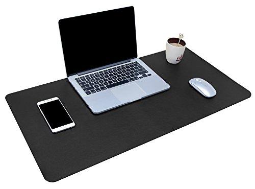 Multifunktionales Office Mauspad, YSAGi Wasserdichte Schreibtischunterlage aus PU-Leder, Ultradünnes Mousepad zweiseitig nutzbar, ideal für Büro und Zuhause (Schwarz 80 * 40 cm)