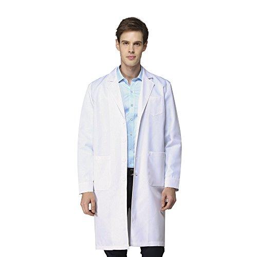 Icertag Laborkittel kittel Herren Damen Medizin Arztkittel Arbeitsmantel Labormantel Schutzkleidung für Labor weiß Baumwolle...