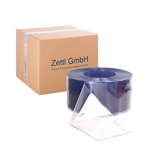 Zettl GmbH PVC-Streifen Rollenware, 3x300 mm, 25m Rolle, transparent/durchsichtig, zur Verwendung als Streifenvorhang, Lamellenvorhang, Industrievorhang