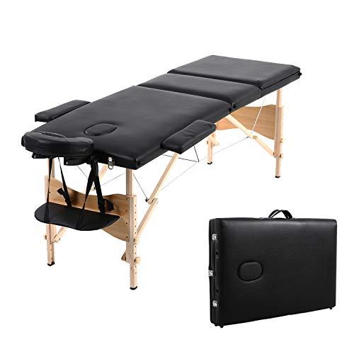 Massagetisch 3 Zonen Massageliege Höhenverstellbares Leichtes Klappbares Tragbares Massagebett Massagebank Kosmetikbank,Schwarz,KH3104S-BK