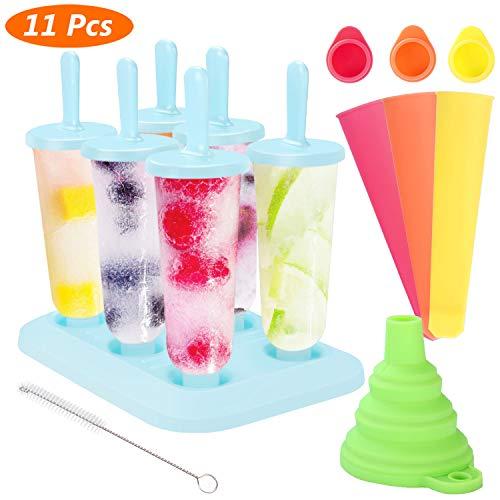 AimTop Eisformen, Stieleisformer 6 Stück EIS am Stiel Formen und 3 Stück Eislutscher Formen aus Silikon BPA Frei, Popsicle Formen Set mit Reinigungsbürste und Falttrichter