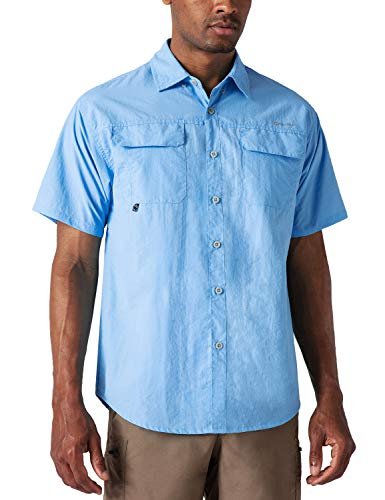 NAVISKIN Herren Kurzarm Hemd Sonnenschutz UPF 50+ Kurzarmshirt Halbarm Funktionshemd schnelltrocknend Wanderhemd Bluebell Größe L
