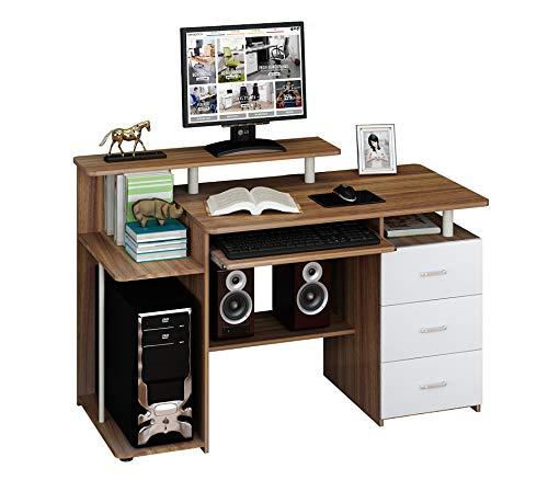 hjh OFFICE Computertisch Büro-Schreibtisch Stella mit Standcontainer, Tastaturauszug, Monitorpodest, viele Ablagefächer, robust gefertigt, einfacher Aufbau, PC-Workstation (nussbaum/weiß)
