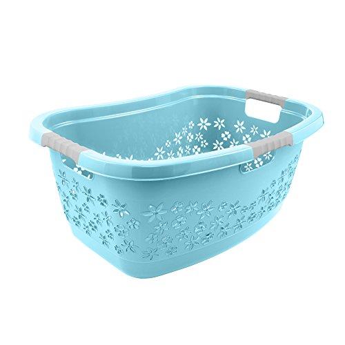 keeeper lasse Wäschekorb Ergonomisch mit Softgriffen 50 l, Plastik, Aqua Blau, 65 x 28.5 x 45 cm