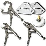 STAHLWERK Schweißzubehör Werkzeug - Magnet-Schweißwinkel + Gripzangen + Magnet-Masseklemme, für Schweißen, Modellbau, KFZ, 6 teilig, weiß
