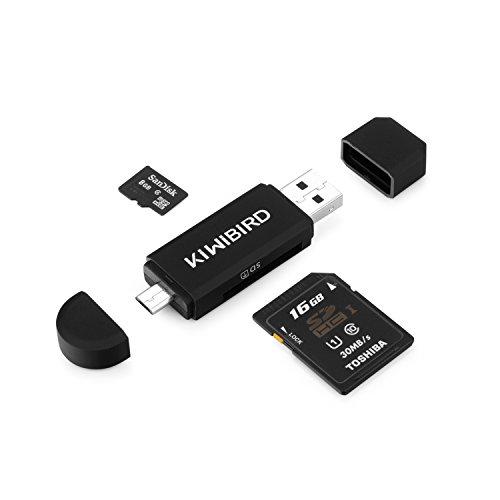 [Neuerscheinung] KiWiBiRD Micro USB OTG zu USB 2.0 Adapter SD/Micro SD Kartenleser mit standard USB Male & Micro USB Male Anschluss für Smartphones/Tablets mit OTG Funktion, PCs und Notebooks