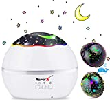 Projektor Lampe, AsperX Nachtlicht Kind Nachttischlampe Ozean Projektor & Sterne Nachtlicht 360° Grad Rotation mit 8 Farben Neuer Typ Sternenhimmel Projektor zum Schlafen Entspannen (White-A)