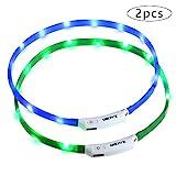 Zacro leuchthalsband Hund 2 Stück hundehalsband Leuchtend USB Wiederaufladbares und Längenverstellbareres Hunde Halsband mit DREI Beleuchtungsmodi für Hunde und Katzen