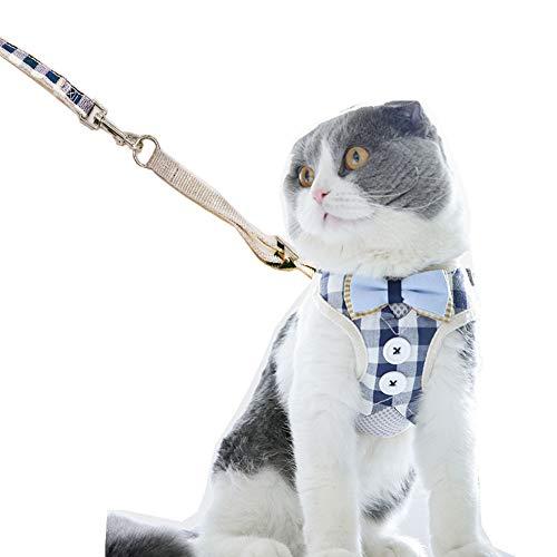 Bello Luna Fluchtgeschützte Katzengeschirr und Leine, Classic Plaid Adjustable Cat Walking Jackets - S