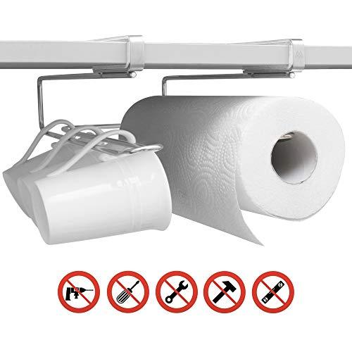 MisterMountain Universal Küchen Organizer - Premium Küchenhelfer aus Edelstahl ohne Bohren oder Schrauben - Tassenhalter, Utensilienhalter, Küchenrollenhalter