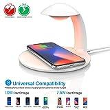 Oeegoo Led Nachttischlampe Dimmbar mit Kabelloses Induktions Ladegerät, Touch Control Augenfreundlich Kid Nachtlampe mit RGB Farbwechsel Stimmungslicht, 10W/7.5W Wireless Charger für Samsung/iPhone
