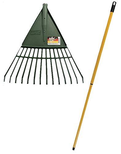 MegaLeaf Laubrechen XL 80 cm mit Teleskopstiel Laubbesen Rechen Fächerbesen Laubharke