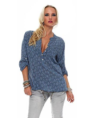 Zarmexx feine Viskosebluse Hemdbluse Fischerhemd Regular fit leichte 3/4-Arm Sommerbluse Tunika zart geblümt Jeansblau One Size (38-42)
