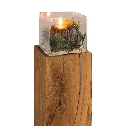GREENHAUS Windlichtsäule 13x13x50 cm Eiche Handarbeit und Massivholz aus Deutschland Windlicht Säule Holz Laterne Dekosäule