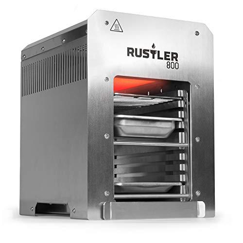 Rustler 800 Hochleistungsgrill   Oberhitze Gasgrill aus Edelstahl für Temperaturen bis zu 800° C mit Piezozünder   Grill   Inkl. Grillrost, Auffangschale und Warmhalteschale   CE-Zertifiziert