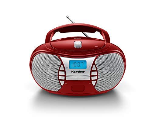 Karcher RR 5025-R tragbares CD Radio (CD-Player, UKW Radio, Batterie/Netzbetrieb, AUX-In) rot