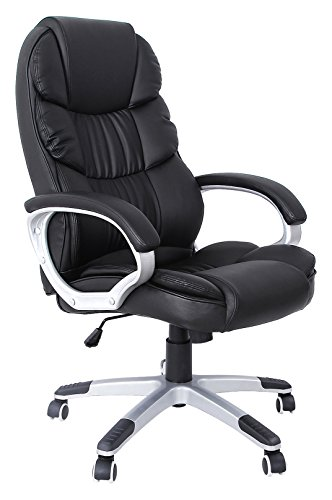 Songmics Bürostuhl mit hoher Rückenlehne Chefsessel Schreibtischstuhl höhenverstellung, Lederimitat, schwarz, 67 x 66 x 114 cm OBG24B