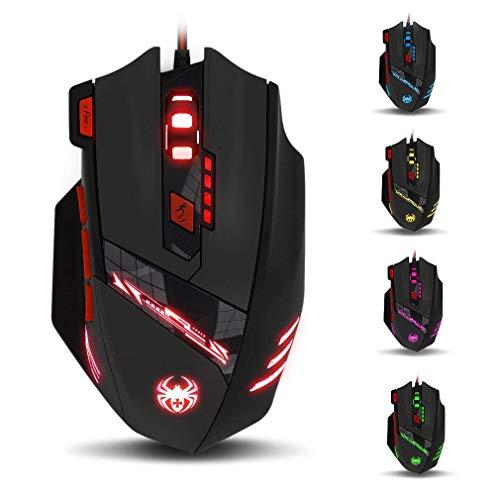 ZELOTES T90 Gaming Maus 9200 DPI, 8 Tasten, Multi-Modi LED, USB Gaming Maus, Gewichtstuning für Pro Gamer