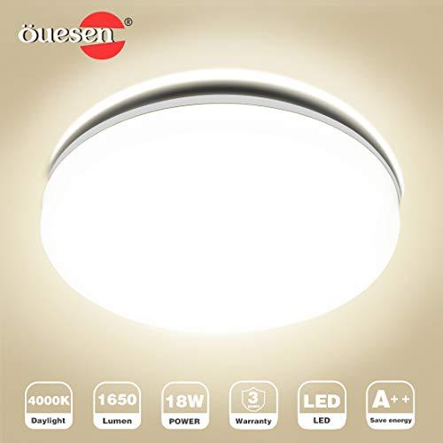 Deckenleuchte Bad LED, Deckenlampe Bad, Öuesen 18W Neutralweiss LED Badezimmer Deckenlampe Bürodeckenleuchten Küchenlampe Badlampe Wohnzimmer Schlafzimmer Balkon Wasserfest IP44 4000K,Ø24cm,1650LM