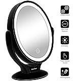LED Beleuchtete Kosmetikspiegel 360 Grad Drehbare Doppelseitiger Schminkspiegel mit 1x / 7X Vergrößerung, Tragbare Tischplatte Vergrößerungsspiegel USB aufladbar für Reisen, Schlafzimmer - Schwarz
