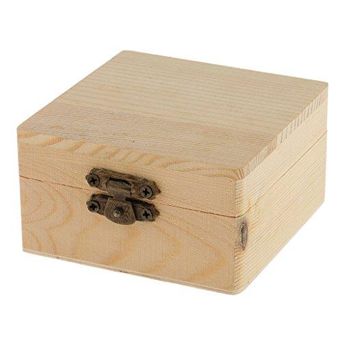 perfk Herz kleine Holzschatulle Schmuckkästchen Holzkiste Schmuckkiste Schmuck Holzbox Holz Aufbewahrungbox Geschenkbox - Holz3, 8x8x4.5cm