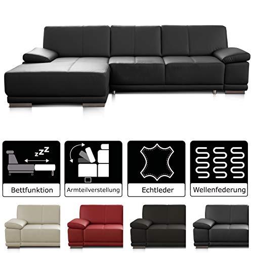 CAVADORE Schlafsofa Corianne mit Longchair links / Ledercouch in modernem Design / Inkl. beidseitiger Armteilverstellung / 282 x 80 x 162 / Echtleder schwarz