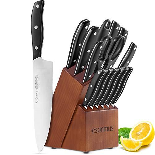 esonmus Messerblock mit Messerset, Küchenmesser Set mit Edelstahlklinge und ergonomischem ABS-Griff, 15 teilig
