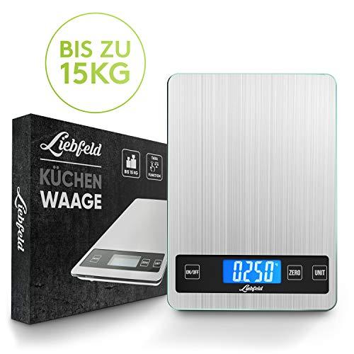 Liebfeld Digitale Küchenwaage bis 15kg [2019er Version] Haushaltswaage Edelstahl mit großer Wiegefläche + 2 Batterien