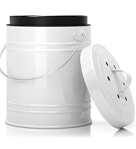 Übergroßer 5 liter Küchen-Kompostbehälter mit kunststoffeinsatz und | Aktivkohlefilter in shwarz/weiß - Stabil konstruiert und abgedichtet um gerüche und ungeziefer zu verhindern | Komposteimer