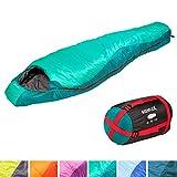KeenFlex Mumienschlafsack 350 - 3 Jahreszeiten -5℃ + 15℃ - Hochentwickeltes Wärmeregulierungssystem - Ideal für Camping, Backpacking oder Wandern (Grün)