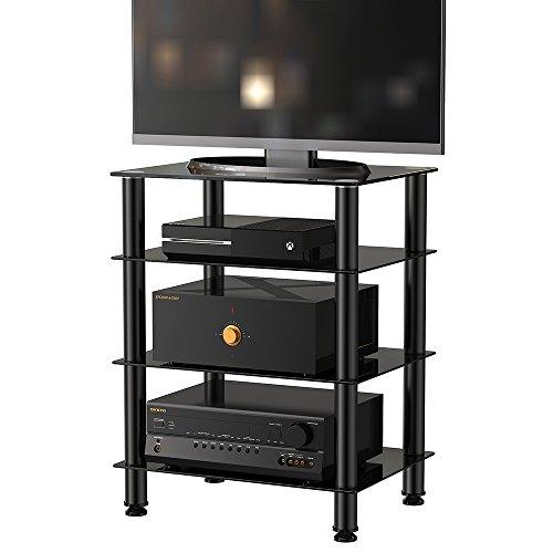 Fitueyes TV Rack Hifi Regal Audio Schrank mit schwarz Glas und Alu AS406001GB