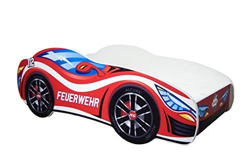 | Kinderbett Autobett Pkw Feuerwehr | 160 x 80 cm | Lattenrost und Matratze | MDF beschichtet