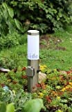 Edelstahl Sockelleuchte Energiesäule Pollerleuchte Steckdosenleuchte mit Schalter ' Made for Licht-Idee '