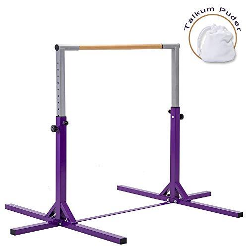 WENHAUS Gymnastik Turnreck für Kinder 6-12 Jahren mit 11 Stufen Höhenverstellbar, 90-140cm Garten Reckstange Horizontal Trainingsgerät, Max. 100Kg